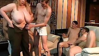 Fat blonde rides and sucks cock at soiree