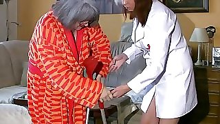 Plus-size obese Nurse jerk with old Granny